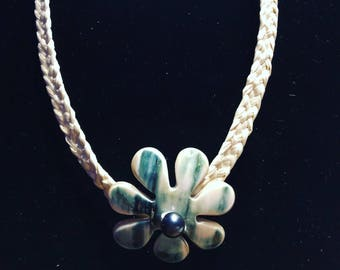 Green Tahitian conch shell necklace