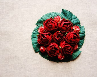 Scarlet Red emerald green miniature rose corsage handmade millinery bouquet embellishment