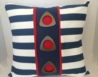 "SALE Navy White Red Nautical Canopy Stripe Grommet Designer Pillow/Decorative Throw Pillow Cover 20"" x 20""/Zipper Closure"