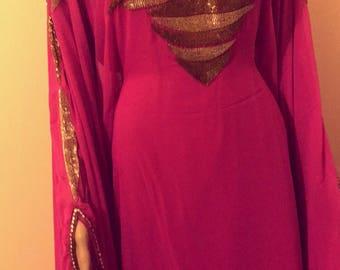 Hot pink Kaftan Abbaya maxi dress