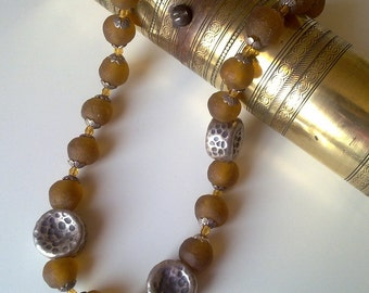 BOLD SET : African recycled glass beads and  hammered sterling silver