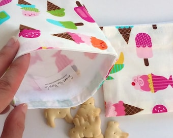 Reusable Snack Bag, Sandwich Bag with Ice Cream Cones, Waste free, Kids lunch bag, BPA free, sustainable