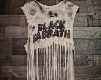 Black Sabbath - Fringe Shirt - Distressed shirt - Custom band shirt - Rock and Roll - Reworked band tee - Shredded Dreams - Medium