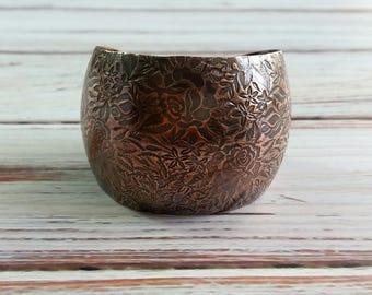 Rambling Rose Copper Cuff- Floral Cuff, Wide Cuff
