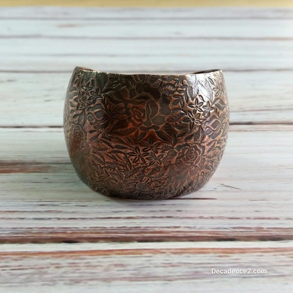 Rambling Rose Copper Cuff- Floral Cuff, Wide Cuff, Embossed Bangle