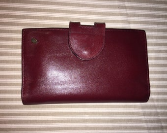 ETIENNE AIGNER Vintage Oxblood 6.75 X 4.25 X 1 Leather Wallet ITALY