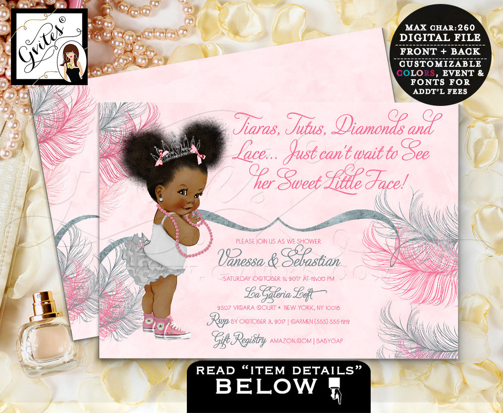 Tiara Baby Shower Invitation African American Princess