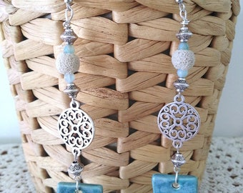 Earrings Arabesque ceramic, lava beads and Agate beads