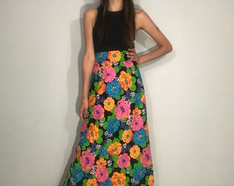 1960s floral maxi skirt