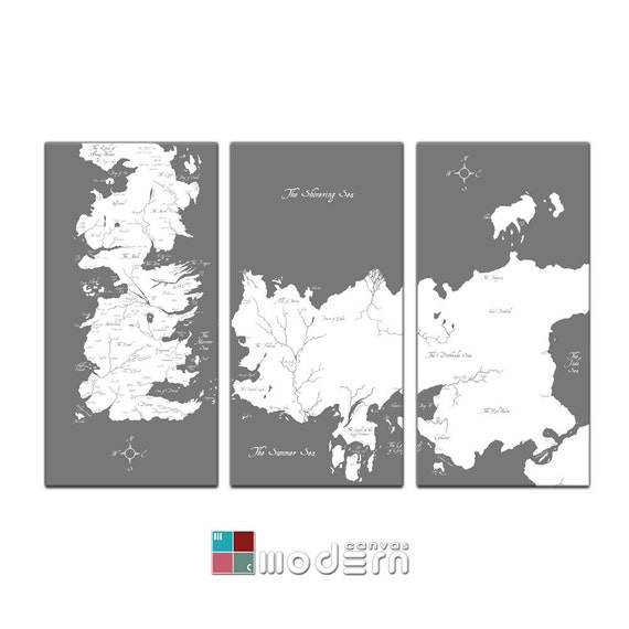 Game of thrones known world map canvas giclee triptych grey gumiabroncs Image collections