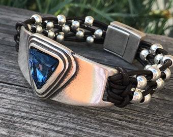 Swarovski Blue bracelet, brown leather swarovski bracelet, swarovski breast bracelet, blue Swarovski bracelet