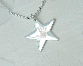 Engraved Handprint Sterling Silver Star Charm
