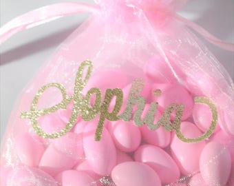 Pink and Gold Personalized Name Organza Favor Bag for Birthday Parties, Bridal Showers, Baby Showers, Sweet 16, Christenings Set of 12