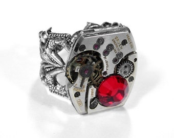 Steampunk Ring Vintage GRUEN Watch Ring RED Crystal, CUSToM Avail, Anniversary Mens Womens Ring, JULY Birthstone - Jewelry by edmdesigns