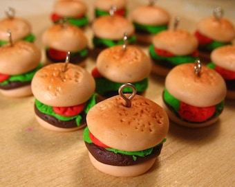 4pcs Hamburger Charms