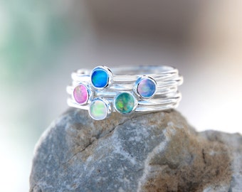 CRYSTAL OPAL RING - Opal Stacking ring ~ Opal ring - Opal Ring - Gemstone Ring - skinny gemstone ring - stacking gemstone ring
