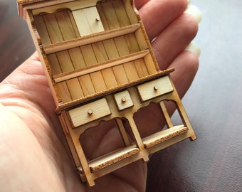 "1/2"" or 1/24 Scale Miniature Country Hutch Kit"
