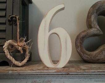 Decorative Freestanding Wedding Table Numbers - Georgian Font - 20cm high - Number 6