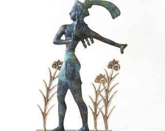 Greek Sculpture, Cretan Minoan Bronze Sculpture, Knossos Prince of Lilies, Bronze Verdigris Museum Reproduction, Ancient Greece Art