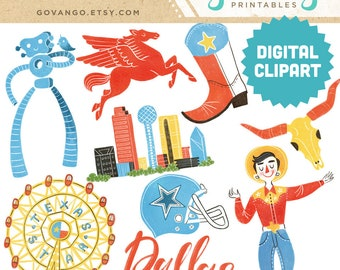 DALLAS Digital Clipart Instant Download Illustration Travel City Skyline Texas Lone star State Cityscape Big Tex Longhorn Cowboys Art