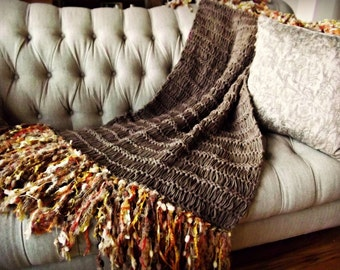 Brown Decor Throw Blanket Afghan Home Decor Housewares Decorations in Brown, Orange, Gold Yellow, Cream