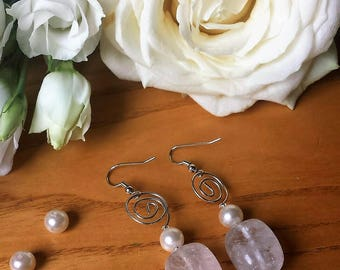 Earrings in rock crystal that gives harmony, joy and Serenity