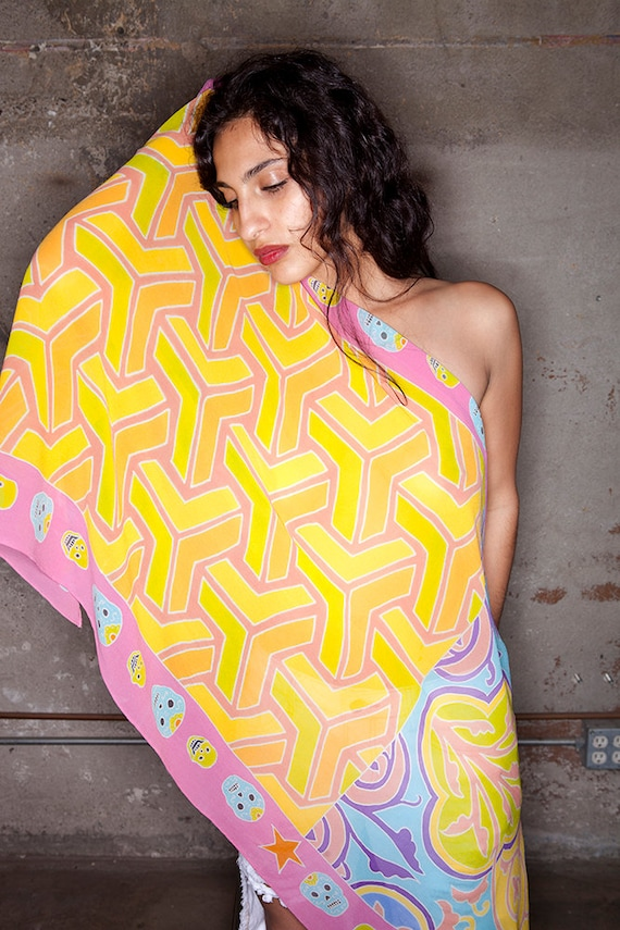 Silk scarf with illusion, tile and skulls painted in pastel hues
