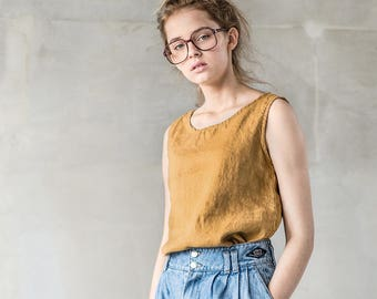 Linen tank top VIENNA / Washed linen linen blouse / available in 34 colors