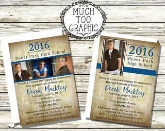 Any Color Boy's Grunge High School College Graduation  1 or 3 Photo INVITATION Class of 2017 Invitations