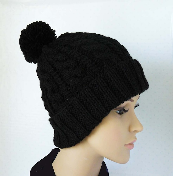 Knitting Pattern, Knitted Cable Beanie, Womens Chunky Knit Hats, Pom Pom  Knit Hat, Knit Brim Beanies, Winter Black Hats, Cable Knit Hats from ...