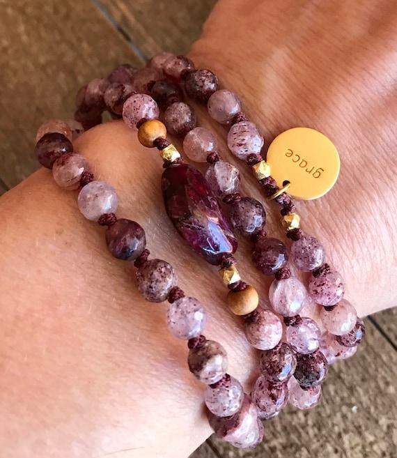 Mala for Concentration & Serenity / Heart Chakra Mala / Cherry Quartz, Raw Ruby, Pink Tourmaline Mala , Pink Wrist Mala Beads