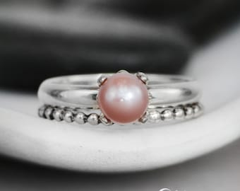 Pink Pearl Engagement Ring Set with Beaded Band - Sterling Silver Pearl Wedding Ring Set - Ocean Wedding Ring Set - Pearl Wedding Set
