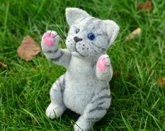 Felted toy gray striped kitten