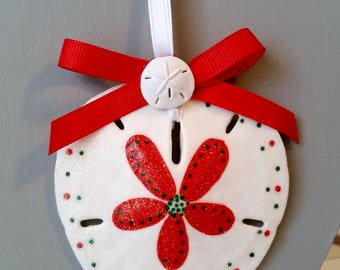 Sand dollar ornament, red white green beach ornament, traditional coastal nautical ornaments