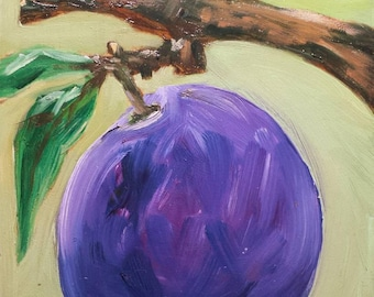 Original oil painting by Laura Campos//plum painting//purple//fruit painting//small art//min art//kitchen art//housewarming gift//rustic art