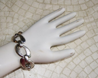 Monet Chunky Silver Large Chain Link Bracelet 1970s Or 1980s