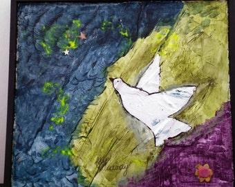 Mixed Media Bird Painting, bird gift, bird art