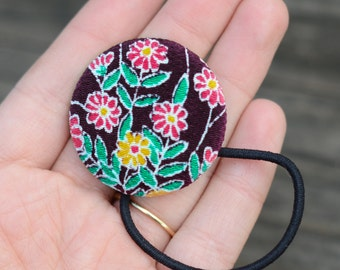 Royal Purple Kimono Fabric Hair Button
