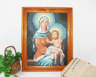 Paint by Number Virgin Mary and baby Jesus, Oak Frame, Framed Paint by Number, Vintage PBN