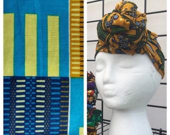 HEAD WRAP african wax print -- Kente 2.0