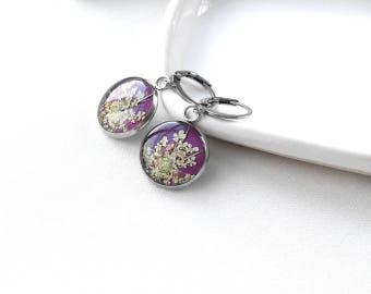 Purple earrings Resin jewelry wedding earrings for bridesmaid jewelry gift for sister set Violet earrings Pretty earrings for grandma gifts