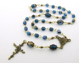 Anglican Rosary - Handmade Cerulean Blue Glass & Antique Bronze Anglican Rosary - Protestant Prayer Beads - Anglican Gift - Christian Gift