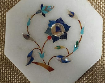 Beautiful Handmade Marble Inlay Peitra Dura Style Tile Semi Precious Stones Handcarved in Agra India Taj Mahal Home!!