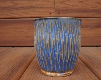 Blue Hand Carved Ceramic Cup, Ceramic Tumbler, Textured Stoneware Drinking Cup