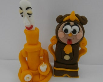 Edible Lumiere and Cogsworth, beauty and the beast,cake topper,decoration, sugarpaste,birthday