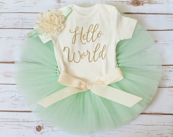 Hello World outfit 'Sadie' mint and gold newborn girl coming home outfit, newborn outfit girl newborn take home outfit girl newborn tutu set