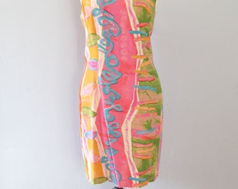 mini robe pastel - 90 s rose bleu orange vert aquarelle fourreau sans manches bodycon manœuvre fit fluo géométriques impression abstraite tropical resort