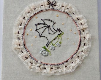 Thieving Bat * Needle Art Flying Bat * Hand Embroidered * One of a Kind