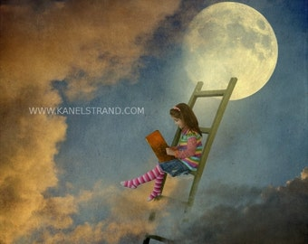 Surreal Mond-Kunst, Fantasie-Bild, lernen zu fliegen, Mond Bild, Digitalfoto-Malerei, Kunstfotografie, kids Room Decor