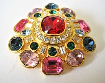 Vintage Joan Rivers Swarovski Crystal Brooch*Multi Colored Rhinestones*Retired Joan Rivers Jewelry*Pave'*Dome Brooch*Tiered*1990's Jewelry